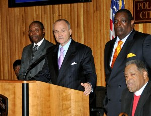 Police Commissioner Ray Kelly joined clergy members to announce the Brooklyn Clergy
