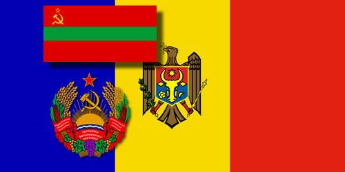 Flags Moldova and Pridnestorviya