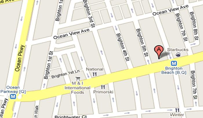 Kingsway Travel 511 Brighton Beach Ave Brooklyn NY   Map