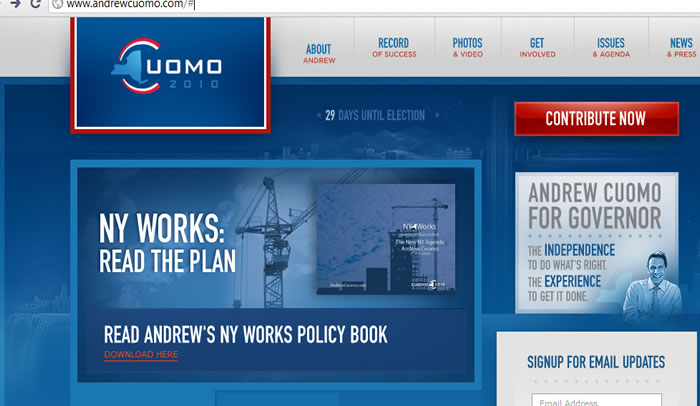 andrew cuomo for governer 2010 web site