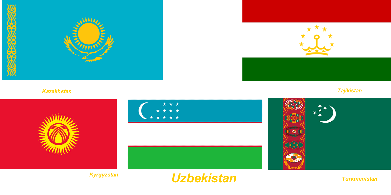 central asian countres flags NYC3000