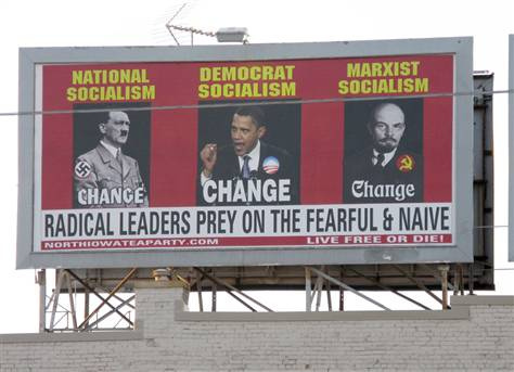 obama hitler Lenin требуем перемен фото с сайта http://www.care2.com/causes/politics/blog/billboard-depicts-obama-gay/