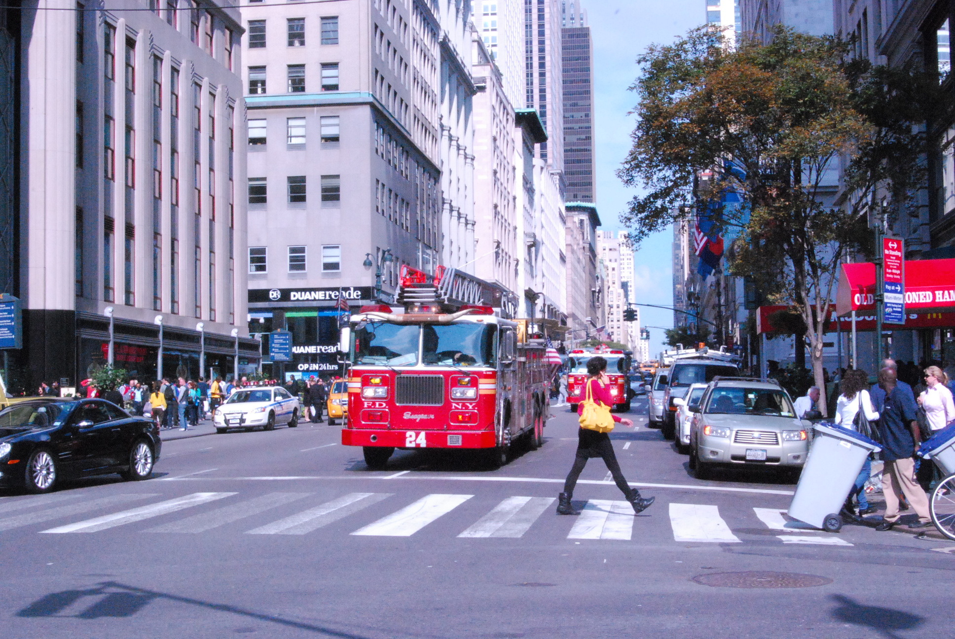 Oct 12 2010 Manhattan NY from 5th Ave from 33 Street avenuew view to uptown firetrucks