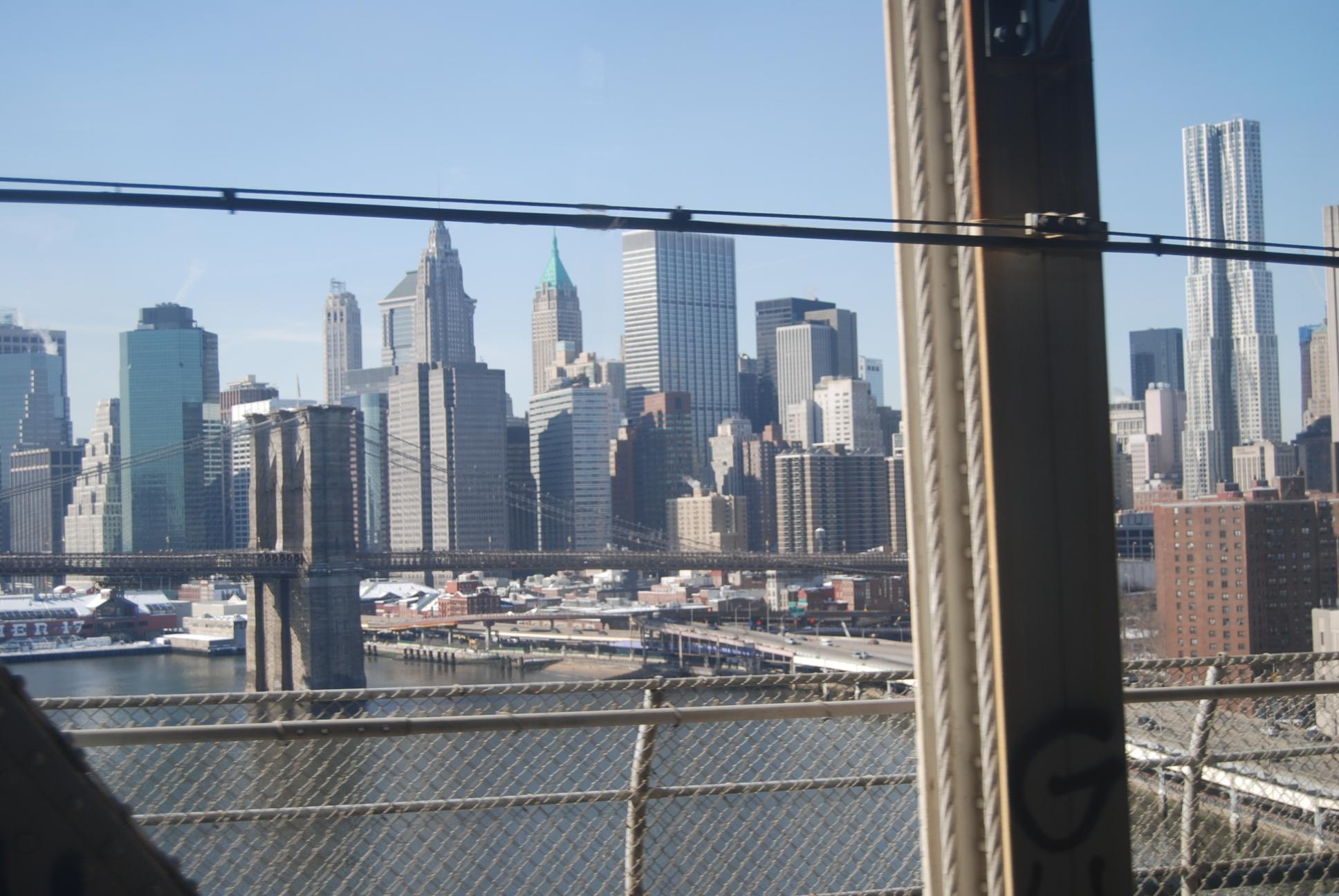 Brooklyn Bridg New York view from subway window 2011