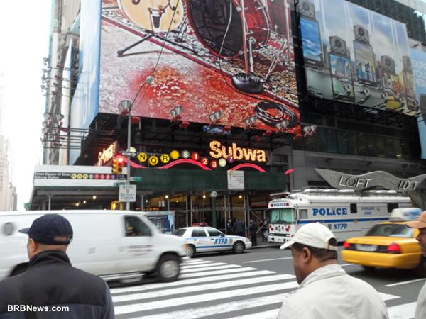 7 Avenue and 42 Street New York NY April 2 2011 Police car