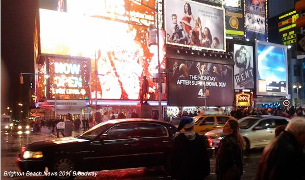 Театральные афишы и реклама на Бродвее