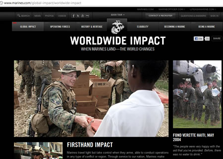 Russian New York scrinshot marines.com website