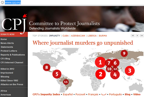 Where journalist murders go unpunished Russia N9 Map