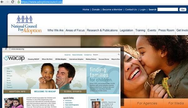 Websites wacap.org and adoptioncouncil.org screenshots