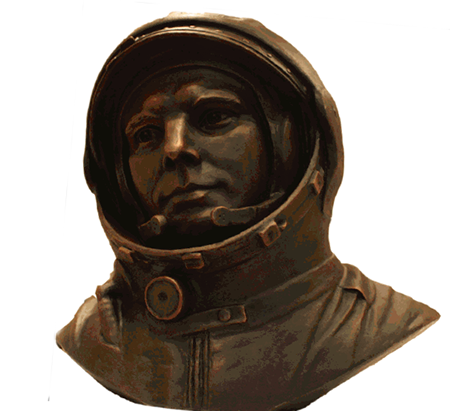Памятник Гагарину в музее авиацмм на Лонг Айлэнде Нью-Йорк