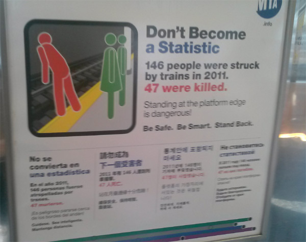 Dont become a statistic MTA NY Subway Russian NY