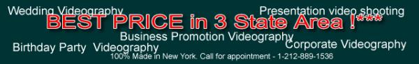 Видео оператор в Нью-Йорке. Сьемка репортажей, рекламы, торжественных событий, свадьб, венчаний, дней рождений.